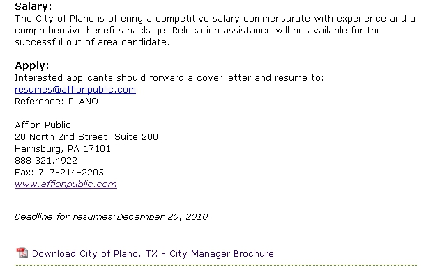 Section from the Affion Website for the Plano City Manager Recruitment